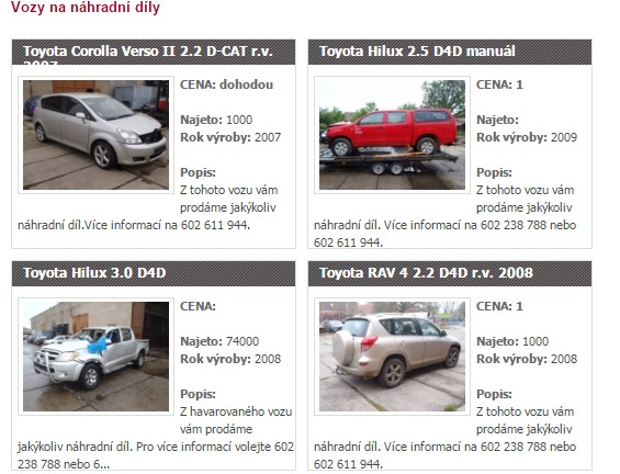 Autovrakoviště Toyota